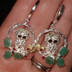 Jewelry - Artistic owl earrings natural emeralds